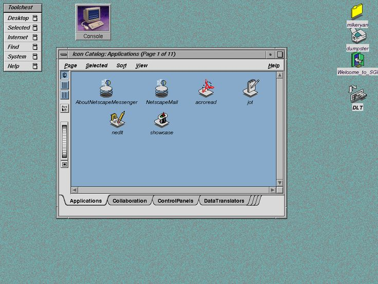 Screenshot of SGI IRIX 6.5 running 4dwm.