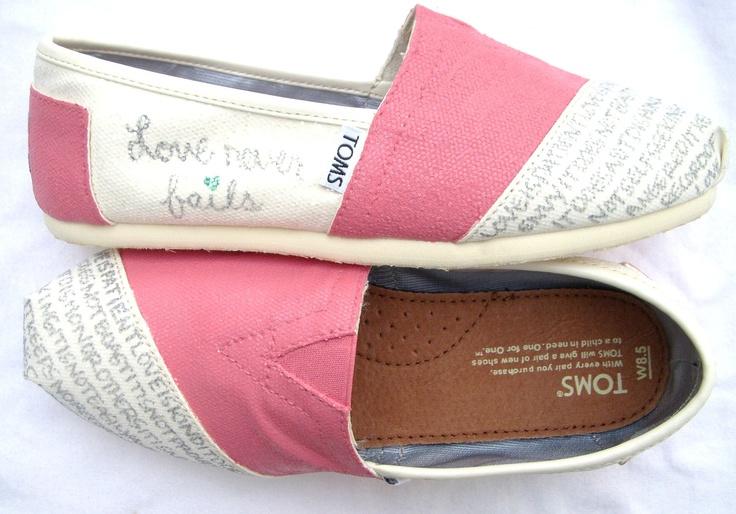 Love is patient, love is kind.: Idea, Wedding Shoes, Style, Tom Shoes, Custom Toms, Toms Shoes, Love Never Fails, White Toms, Closet
