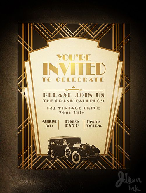 16 best images about Gatsby Invitation – Art Deco Party Invitations