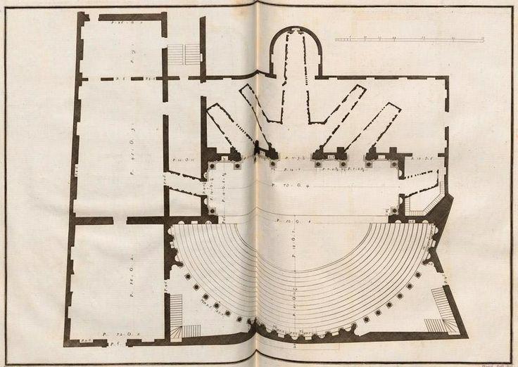 Pianta del Teatro Olimpico di Vicenza, opera del Palladio, dagli splendidi disegni di Ottavio Bertotti Scamozzi, dalla seconda edizione del 1786.  Dottrina dell'Architettura