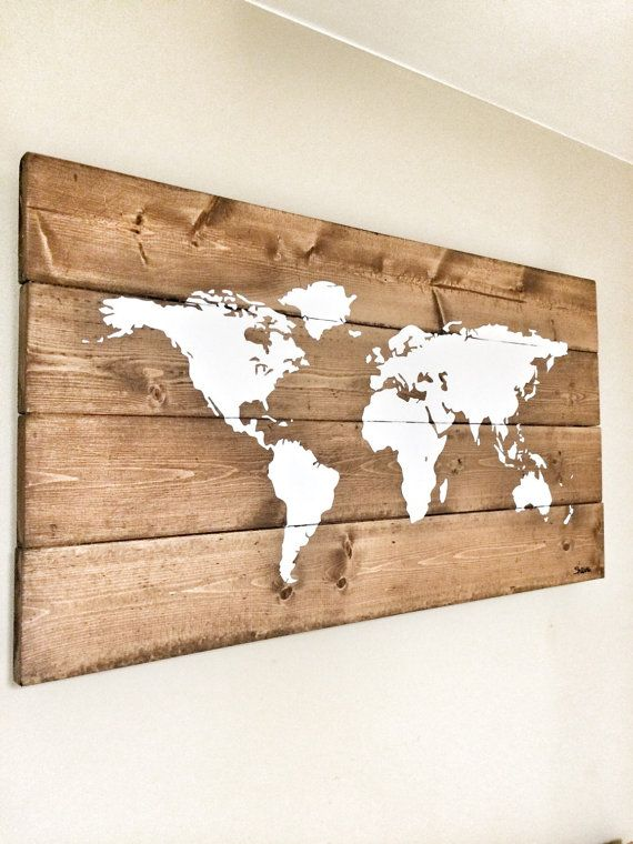Rustic Wood World Map, Rustic Decor, Farmhouse Decor, Rustic Nursery Decor, Wall Decor, Wooden White World Map - 26 x 14
