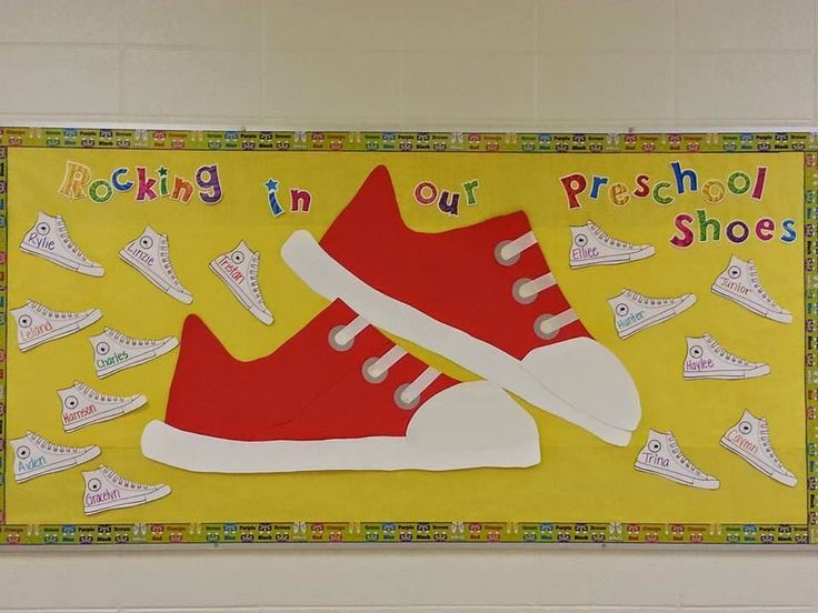 "This ""Pete The Cat"" themed bulletin board is a great idea for the beginning of the school year. Students could each decorate a shoe as a fun craft on the first day of school."