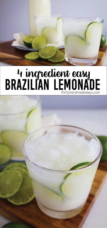 4 Ingredient Easy Brazilian Lemonade/Limeade from http://thirtyhandmadedays.com | A refreshing summer drink!