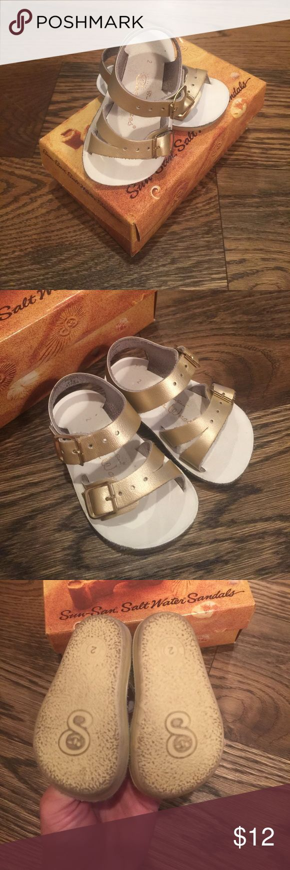 Salt Water Sandals size 2 gold Great used condition Salt Water Sandals size 2 worn by a walker. Salt Water Sandals by Hoy Shoes Sandals & Flip Flops