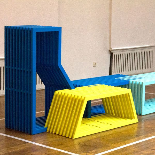 Additions by Eindhoven-based Izabela Boloz is a modular furniture system designed for public spaces. o