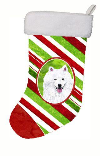 American Eskimo Candy Cane Holiday Christmas Christmas Stocking SC9339