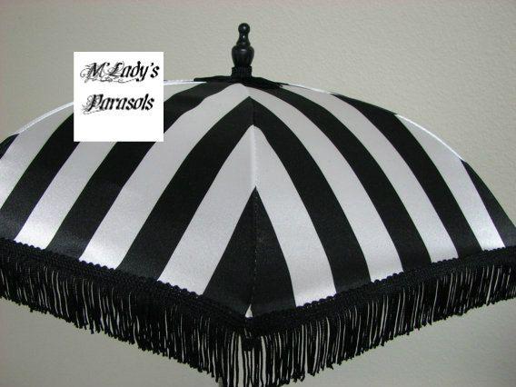 VICTORIAN PARASOL Umbrella in Elegant Black and Pure White Stripe Satin and Black Fringe Sun Parasol Shower Sun Shade Steampunk Bridal Goth
