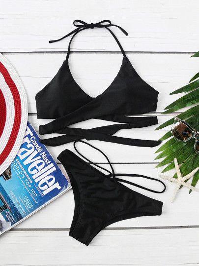 4e60a3b2f4 Halter Wrap Bikini Set -SheIn(Sheinside) Fashion Lookbook, Trending  Outfits, Cute