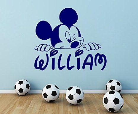 Personalized Name Wall Decal Mickey Mouse Decals Cartoon Sticker Boy Nursery Kids Room Bedroom Home Decor DS403 *** Click image for more details.