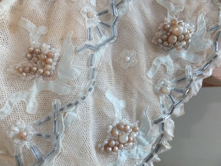 The bathroom pouch. Bead & applique Edwardian bag, palest blue & old paste 'pearls'.