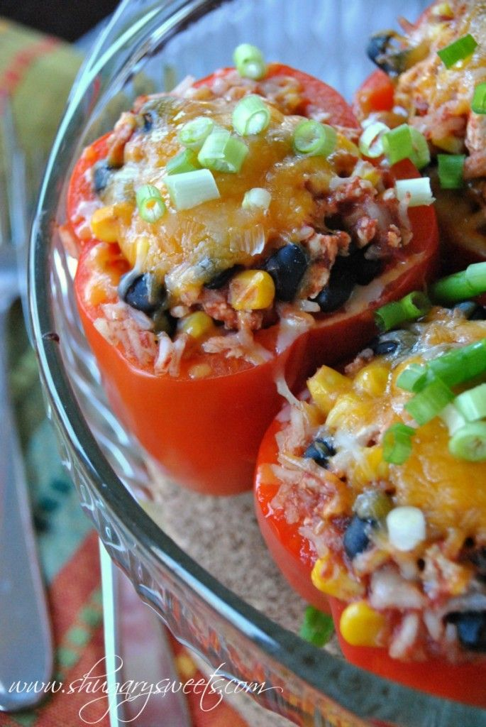 Santa Fe Stuffed Peppers, I made these with brown rice.  Definitely a keeper!