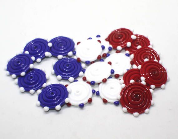 Set 6 Spiral Disc Beads 18 mm Red White Blue Azure Cobalt