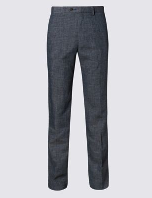 Flat Front Textured Trousers