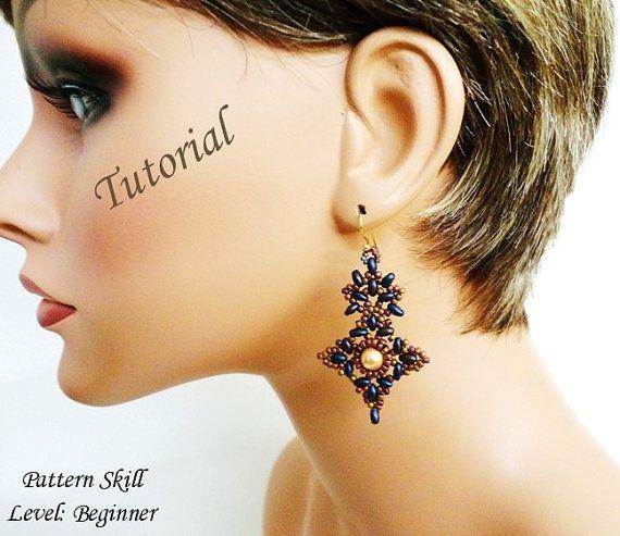 ETOILE du BERGER beaded earrings beading tutorials and patterns superduo beadwork jewelry beadweaving tutorial beading pattern instructions