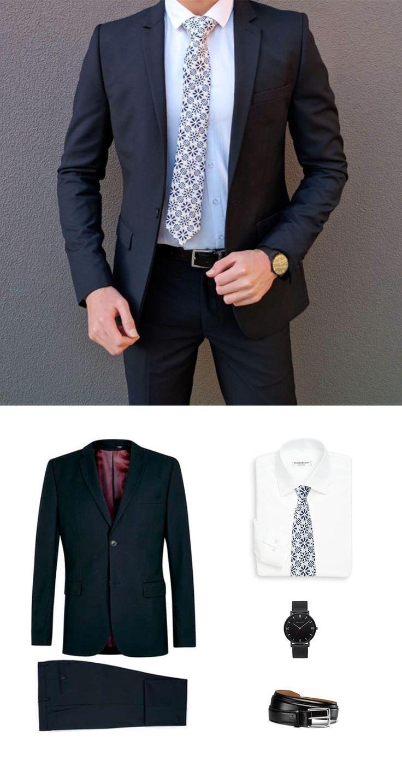 Klassischer Navy Anzug kombiniert mit moderner Blumen-Print Krawatte
