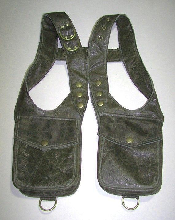 Darkwear Clothing Unisex Olive Green Leather Double