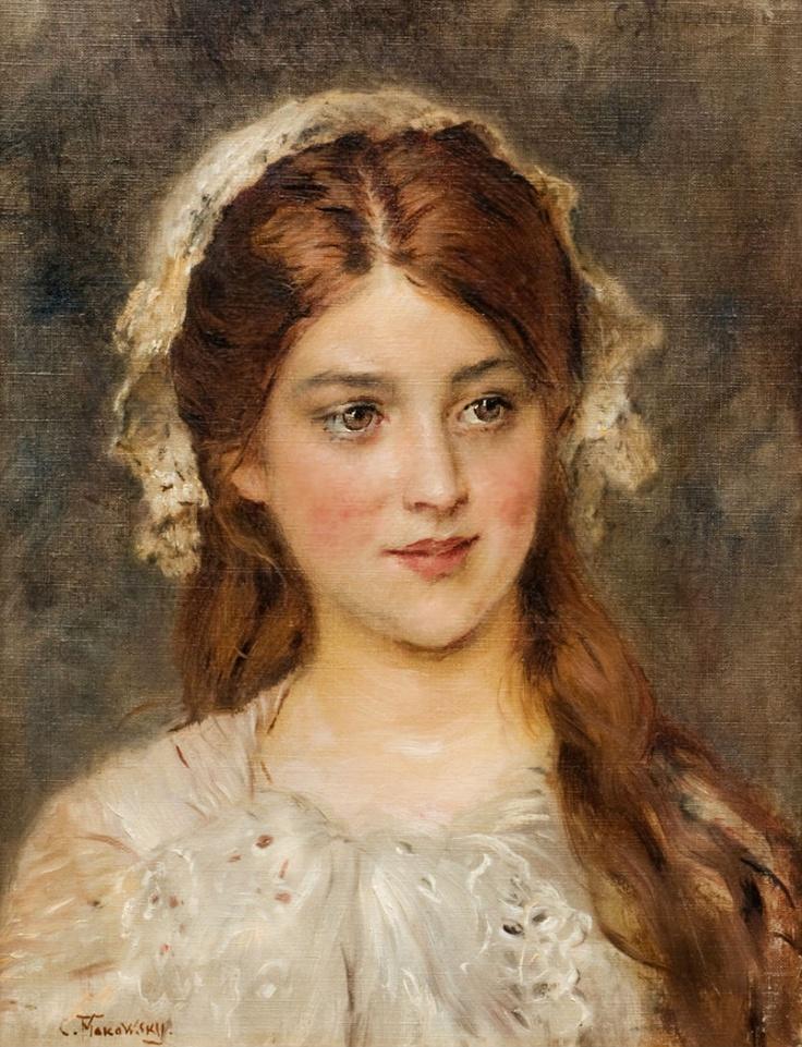 Beautiful Portrait of a young girl. By: Konstantin Makovsky