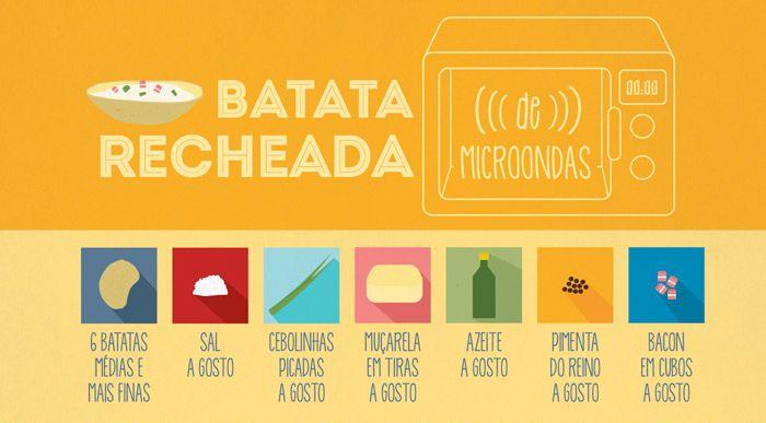RECEITA-ILUSTRADA 134: Batata Recheada no micro-ondas. http://mixidao.com.br/receita-ilustrada-134-batata-recheada-micro-ondas/