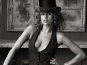 women american actress cleavage eva mendes models monochrome