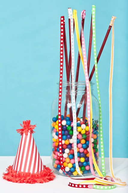Ribbon wands at a gumball bubble gum party via Kara's Party Ideas