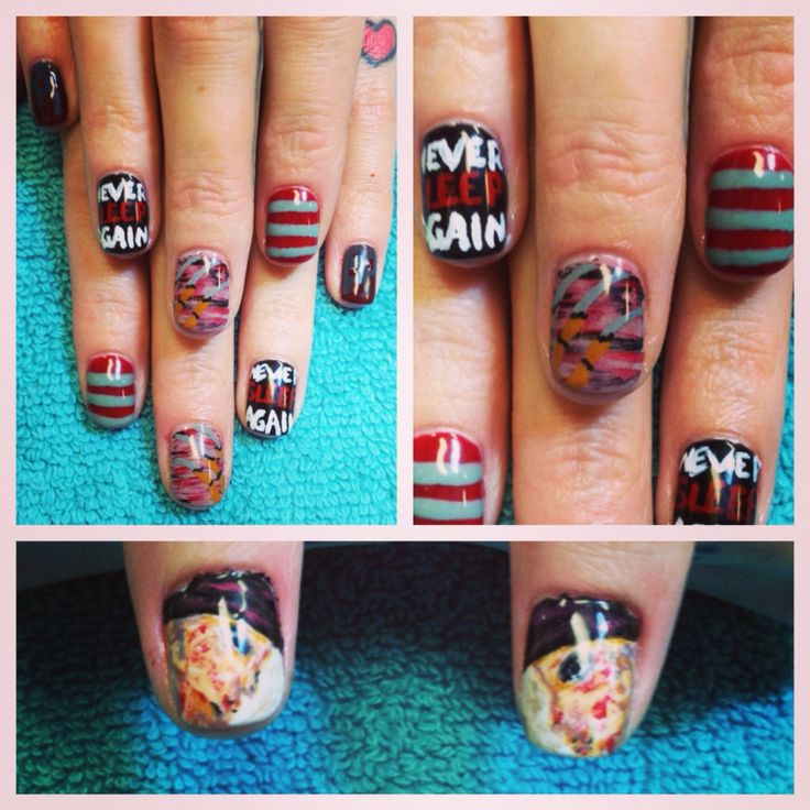 Freddy Krueger nail art for Halloween (With images ...