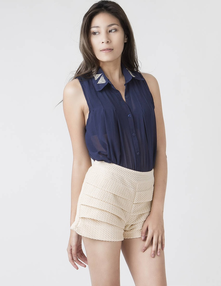 pleated cream shorts  http://www.clubcouture.cc/pleated-cream-shorts