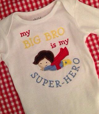 My Big Bro is my super hero bodysuit shirt 0-3 3 6 9 12 18 months 2T 2 3T 3 4T 4 5T 5 outfit superhero onesie big little brother