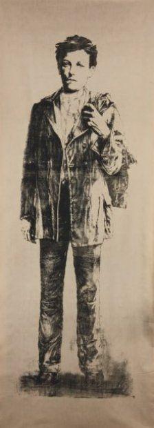 Ernest PIGNON-ERNEST (1942)  Arthur Rimbaud Estampe sur tissu. Non signée. 198