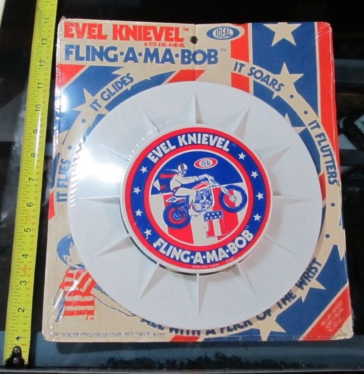 VINTAGE EVEL KNIEVEL FLING A MA BOB FRISBEE 1975 IDEAL SEALED MINT IN PACKAGE