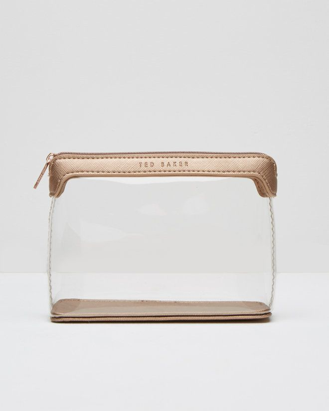 Clear triangular wash bag - Rose Gold | Gifts for Her | Ted Baker