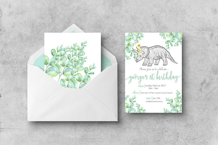 Excited to share the latest addition to my #etsy shop: Printable Birthday Party Invitation | Dinosaur Invitation | Triceratops | Party Invite | Invitation | 1st Birthday | Watercolor | Customised http://etsy.me/2npqpJx #papergoods #dinosaur #triceratops #greenery #part