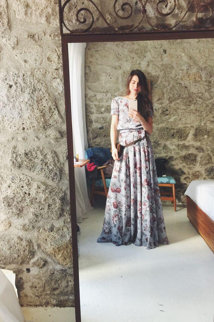 Floral print Maxi chiffon Kleid mit Schaufel zurück von NelliUzun