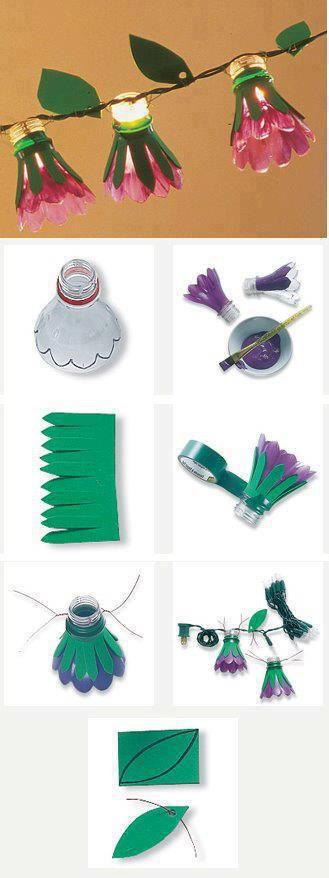 Make your own light fittings using the tops of plastic bottles and craft paper!