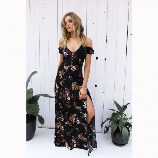 LOST IN LUNAR Dark Bloom Maxi Dress