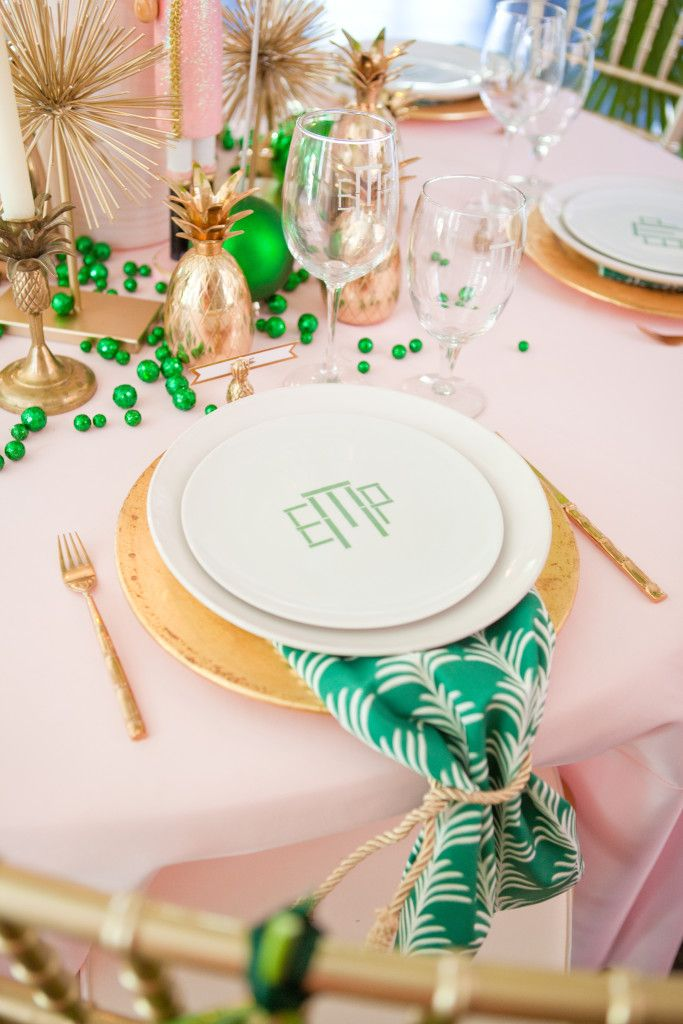 Preppy bridal shower table idea - pink, gold + green details with pineapple and monograms {Courtesy of Chinoiserie Chic}