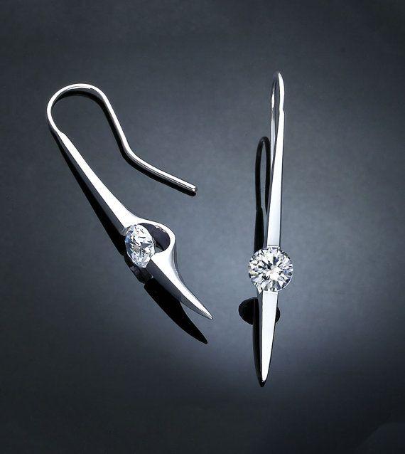 statement earrings dangle earrings by VerbenaPlaceJewelry - modern jewelry designs using recycled metals