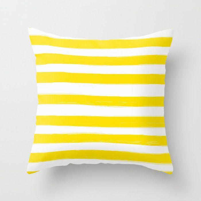 Yellow Stripes White Background Decor Society6 Buyart Throw