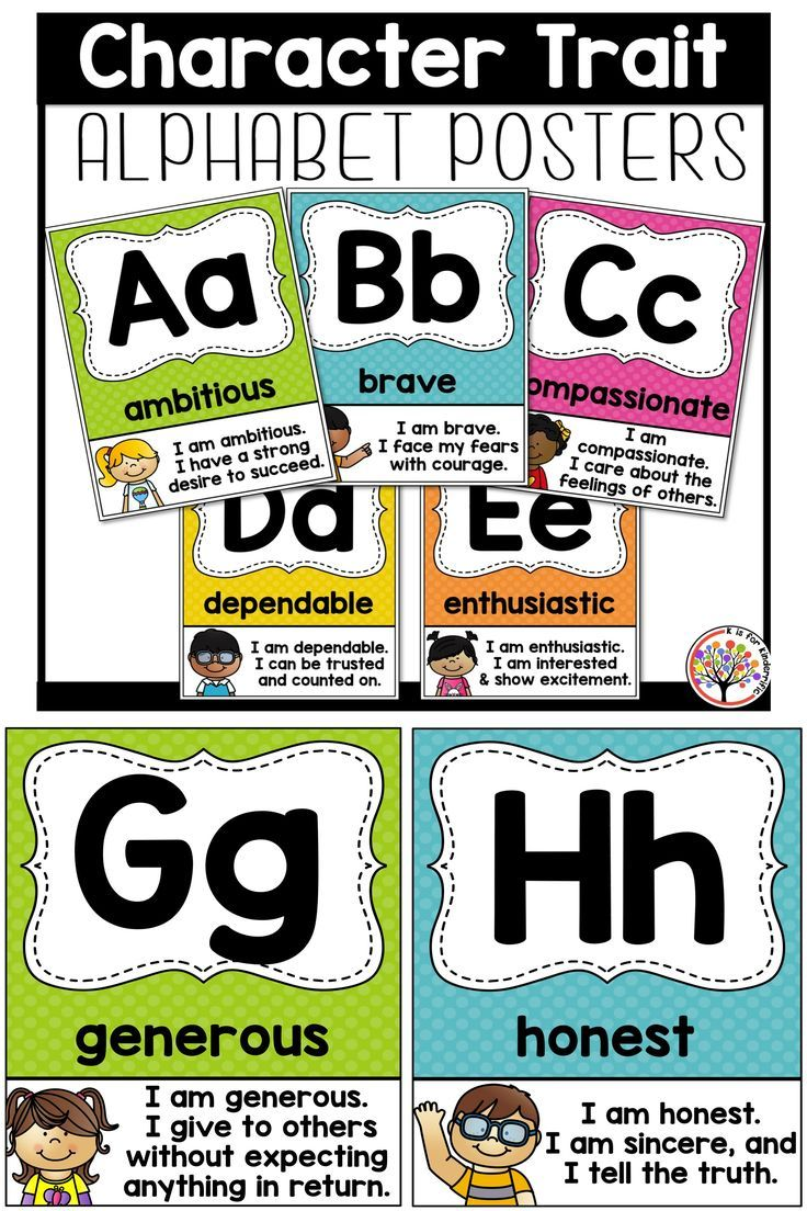 Positive Character Trait Alphabet comes in 5 different colors to mix or match your classroom decor.  A positive spin on your traditional alphabet display!