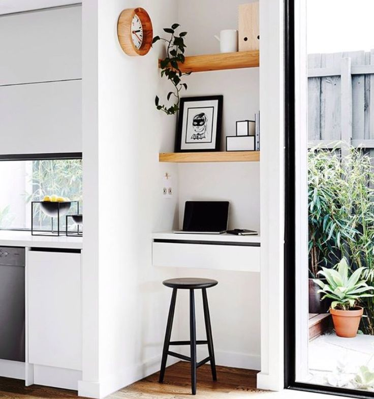Black, white and open timber shelves