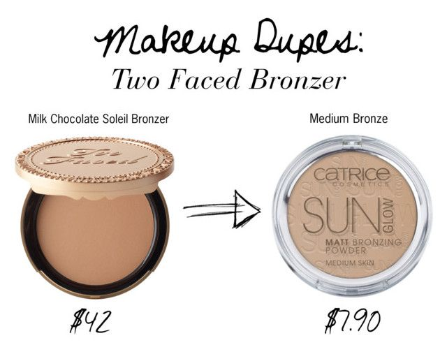"""""""MAKEUP DUPES: TWO FACED BRONZER"""" by seasaltsara on Polyvore featuring beauty and Too Faced Cosmetics"""