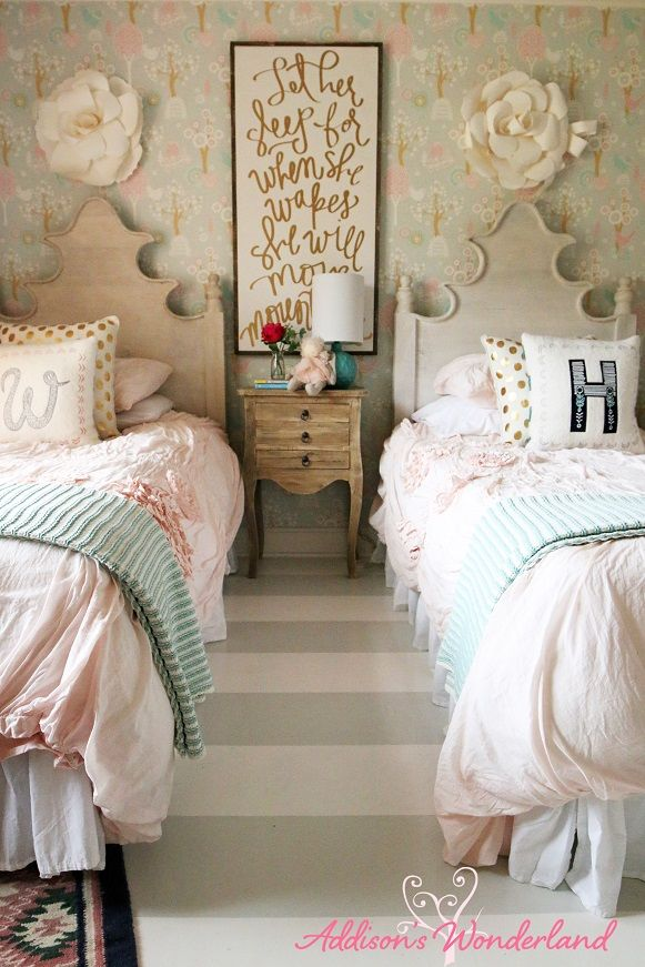Creating a vintage chic little girl's wonderland bedroom with soft pastels,  striped flooring and fun