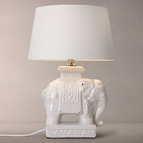 Buy John Lewis Branwell Ceramic Elephant Lamp Base, Cream Online at johnlewis.com