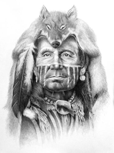 """""""Ghost of the Wolf"""" by Joe Belt {pencil drawing done for the Ossahatchee Pow-Wow Association}"""