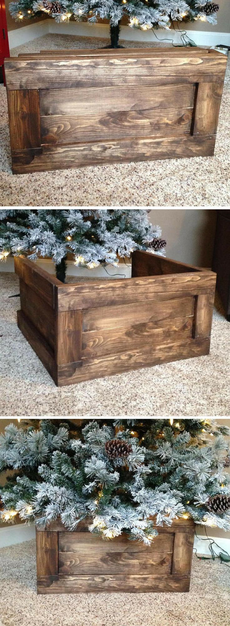 Best 25 christmas tree stands ideas on pinterest for Wooden box tree stands