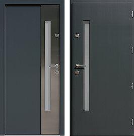 Drzwi wejściowe inox   z szybą 417,1-417,11 w kolorze antracyt