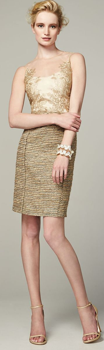 Kay Unger ● New York 3/4-Sleeve Metallic Lace Overlay Cocktail Dress