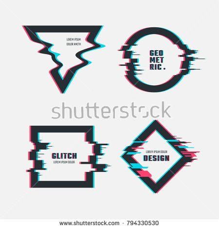 Stock Vector: Vector frames with glitch tv distortion effect. Illustration of elements with glitch tv effect screen -