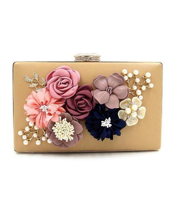 Lady Satin Rhinestone Handbag Wedding Party Flower Clutch Purse Evening Bag