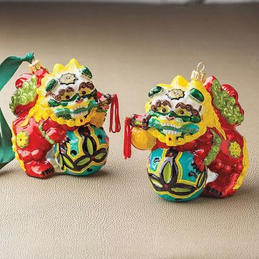 Foo Dog Ornament Set - asian - holiday decorations - Gump's