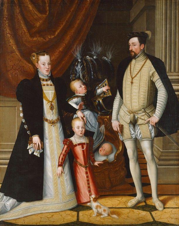 1563 Holy Roman Emperor Maximilian II of Austria and his wife Infanta Maria of Spain with their children by Giuseppe Arcimboldi (Schloß Ambras - Innsbruck Austria) | Grand Ladies | gogm